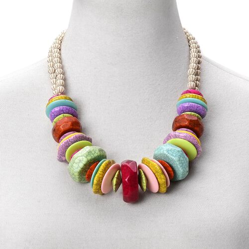 Designer Inspired-Multi Colour Beads Necklace (Size 24 with 2 inch Extender) in Yellow Gold Tone