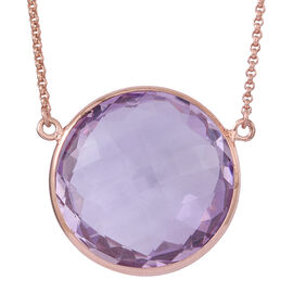 Rose De France Amethyst Necklace (Size 22) in 14K Rose Gold Overlay Sterling Silver 35.000 Ct.