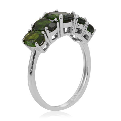 Russian Diopside (Ovl 1.25 Ct) 5 Stone Ring in Rhodium Plated Sterling Silver 4.000 Ct.