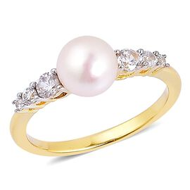 Japanese Akoya Pearl (Rnd 6-7mm), White Zircon Ring in Yellow Gold Overlay Sterling Silver