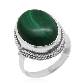 Royal Bali Collection Malachite (Ovl) Solitaire Ring in Sterling Silver 8.000 Ct.