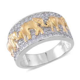 ELANZA AAA Simulated White Diamond (Rnd) Elephant Ring in Rhodium Plated and Yellow Gold Overlay Sterling Silver