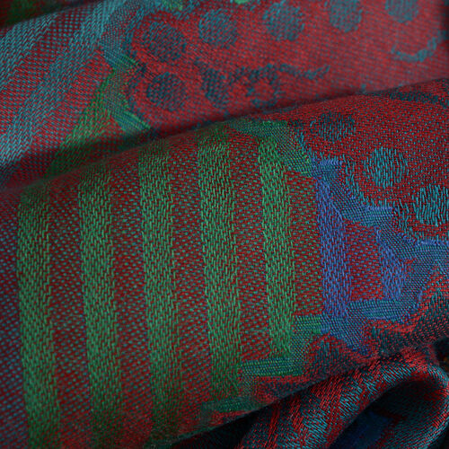 100% Modal Green, Red and Multi Colour Jacquard Scarf (Size 190x70 Cm)