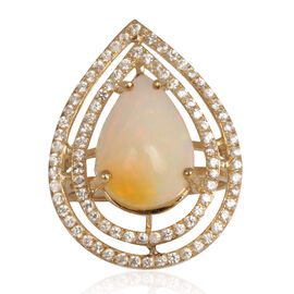 9K Y Gold Ethiopian Welo Opal (Pear 3.25 Ct), Natural Cambodian Zircon Ring 4.000 Ct.