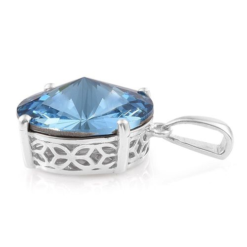 J Francis Crystal from Swarovski - Aquamarine Colour Crystal (Rnd) Solitaire Pendant in Platinum Overlay Sterling Silver