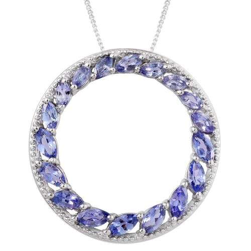 Limited Edtition - Tanzanite (Mrq) Circle of Life Pendant with Chain in Platinum Overlay Sterling Silver 2.000 Ct.