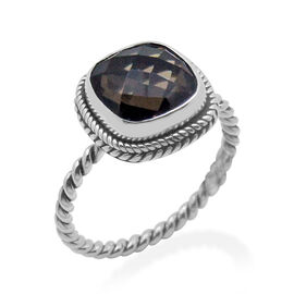 Royal Bali Collection Brazilian Smoky Quartz (Cush) Solitaire Ring in Platinum Overlay Sterling Silver 3.350 Ct.