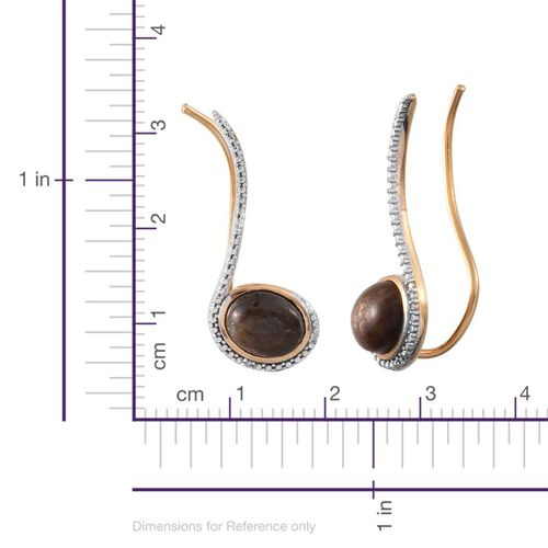 Chocolate Sapphire (Ovl), Diamond Climber Earrings in 14K Gold Overlay Sterling Silver 7.770 Ct.