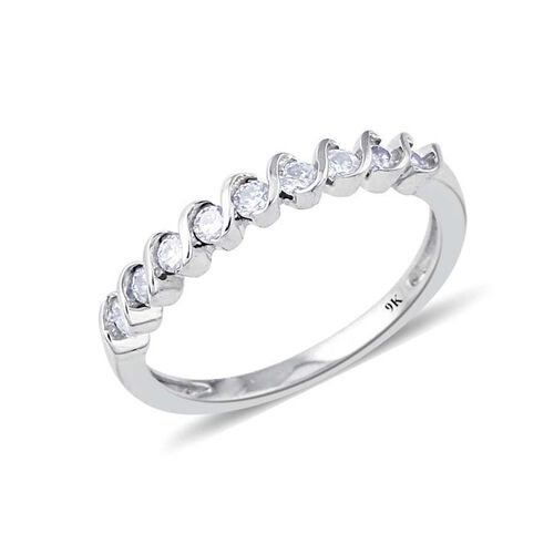 9K White Gold SGL Certified Diamond (Rnd) (I3/G-H) Half Eternity Ring 0.330 Ct.