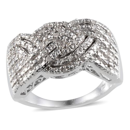 Diamond (Rnd) Ring in Platinum Overlay Sterling Silver Cluster 0.250 Ct.