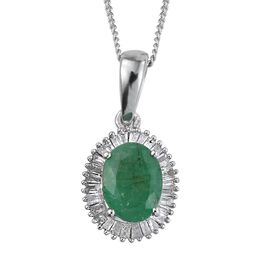 Kagem Zambian Emerald (Ovl 1.00 Ct), Diamond Pendant With Chain in Platinum Overlay Sterling Silver 1.250 Ct.