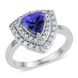RHAPSODY 950 Platinum AAAA Tanzanite (Trl 1.35 Ct), Diamond (VS/E-F) Ring 1.750 Ct.