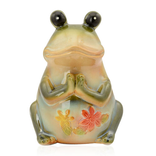 (Option 2) Home Decor Porcelain Ceramic Green Frog with Red and Yellow Flower Pattern