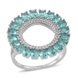 ELANZA AAA Simulated Paraiba Tourmaline (Ovl), Simulated Diamond Ring in Rhodium Plated Sterling Silver