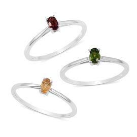 Set of 3 - Mozambique Garnet (Ovl), Russian Diopside and Citrine Solitaire Ring in Platinum Overlay Sterling Silver 0.660 Ct.