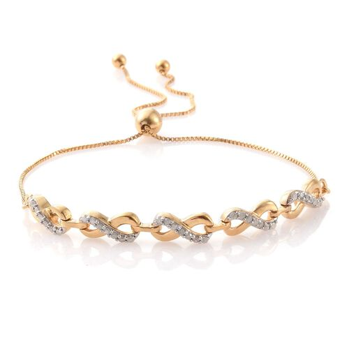 Diamond 0.29 Ct Silver Infinity Love Adjustable Bracelet in Gold Overlay (Size 6.5 to 8.5)
