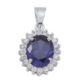 AAA Simulated Tanzanite (Ovl), Simulated White Diamond Pendant in Rhodium Plated Sterling Silver