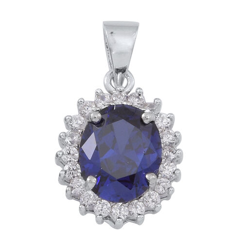 Simulated Tanzanite (Ovl), Simulated White Diamond Pendant in Rhodium Plated Sterling Silver