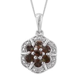 Brazilian Andalusite (Rnd) Pendant with Chain in Platinum Overlay Sterling Silver 0.750 Ct.