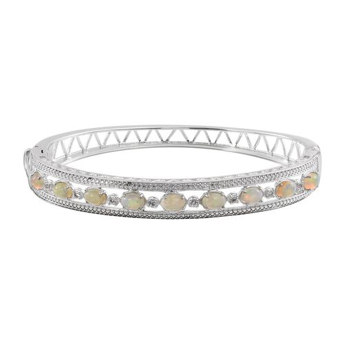 Ethiopian Welo Opal (Ovl), White Topaz Bangle (Size 7.5) in ION Plated Platinum Bond 2.500 Ct.