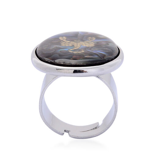 Abalone Shell Zodiac Scorpio Adjustable Ring in Silver Tone 12.000 Ct.