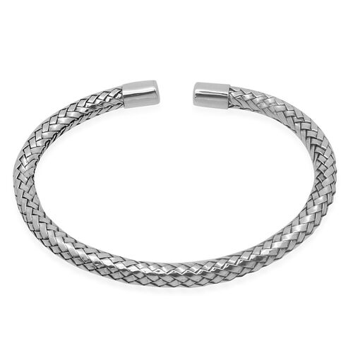 Royal Bali Bamboo Weave Collection Sterling Silver Bangle (Size 7), Silver wt 16.00 Gms.