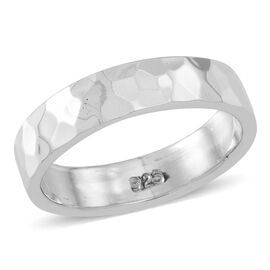 Thai Rhodium Plated Sterling Silver Diamond Cut Band Ring, Silver wt 5.00 Gms.
