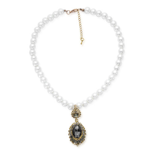 Glass, Grey Austrian Crystal and White Glass Pearl Necklace (Size 16.5 with Extender) in Gold Tone