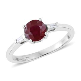 RHAPSODY 950 Platinum 1.25 Ct. AAAA Burmese Ruby Ring with Side Diamond VS/E-F