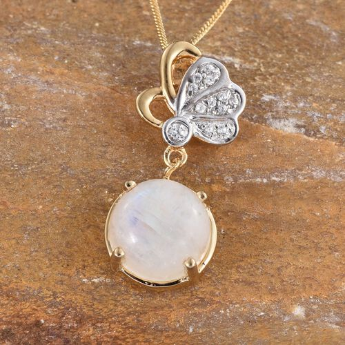 Natural Rainbow Moonstone (Rnd 3.90 Ct), Natural Cambodian Zircon Pendant With Chain in 14K Gold Overlay Sterling Silver 4.000 Ct.