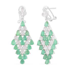Brazilian Emerald (Pear), White Zircon Earrings (with French Clip) in Platinum Overlay Sterling Silver 4.750 Ct.