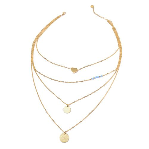 (Option 2) Blue Seed Beaded Necklace (Size 18) in ION Plated Yellow Gold Stainless Steel