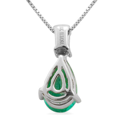 ILIANA 18K W Gold Boyaca Colombian Emerald (Pear 1.15 Ct) and Diamond Pendant With Chain 1.200 Ct.