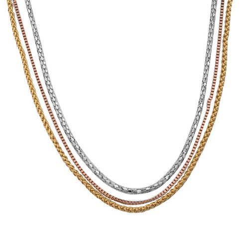 Set of 3 - Wheat, Box and Mirror Popcorn Necklace (Size 20) in ION Plated Yellow Gold, Rose Gold and Stainless Steel