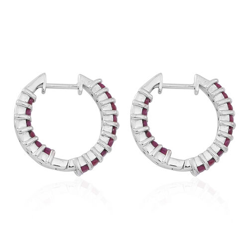 Burmese Ruby (Rnd) Hoop Earrings (with Clasp) in Rhodium Plated Sterling Silver 2.250 Ct.
