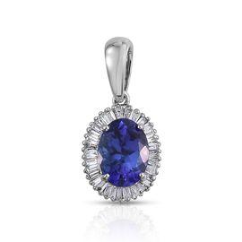 RHAPSODY 950 Platinum AAAA Tanzanite (Ovl 1.40 Ct), Diamond Pendant 1.650 Ct.
