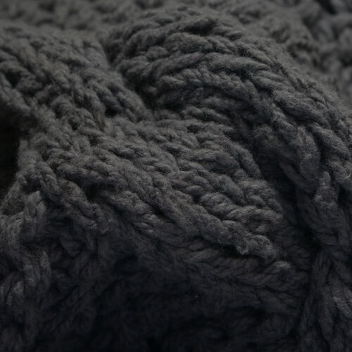 Cable Knit Pattern Dark Grey Colour Throw