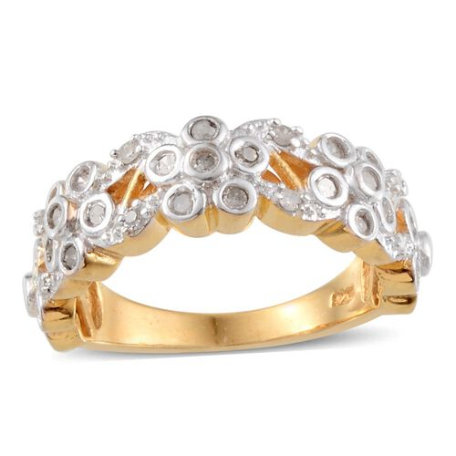 Diamond (Rnd) Ring in Yellow Gold Overlay Sterling Silver 0.200 Ct.