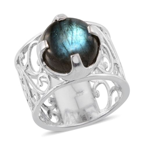 Labradorite (Rnd) Solitaire Ring in Platinum Overlay Sterling Silver 7.000 Ct.