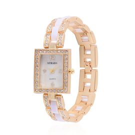 STRADA Japanese Movement White Austrian Crystal Studded White Dial Water Resistant Watch in Gold Tone with Stainless Steel Back and Golden Strap