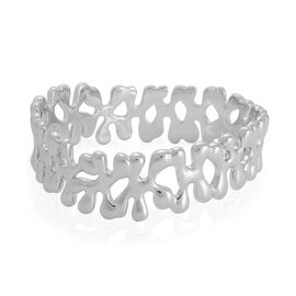LucyQ Splat Bangle in Rhodium Plated Sterling Silver (Size 7.5 / Medium), Silver wt 64.00 Gms.