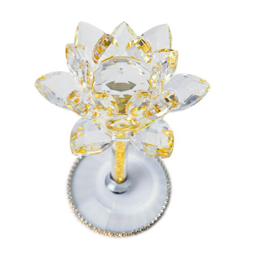 Hand Crafted AAA Yellow Colour Austrian Crystal Base Lotus Floral with Crystal Base