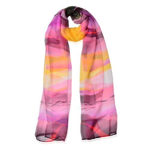 100% Mulberry Silk Pink, Purple, Yellow and Multi Colour Water Pattern Scarf (Size 170x50 Cm)