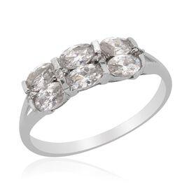 J Francis - Platinum Overlay Sterling Silver (Ovl) Ring Made with SWAROVSKI ZIRCONIA 1.296 Ct.