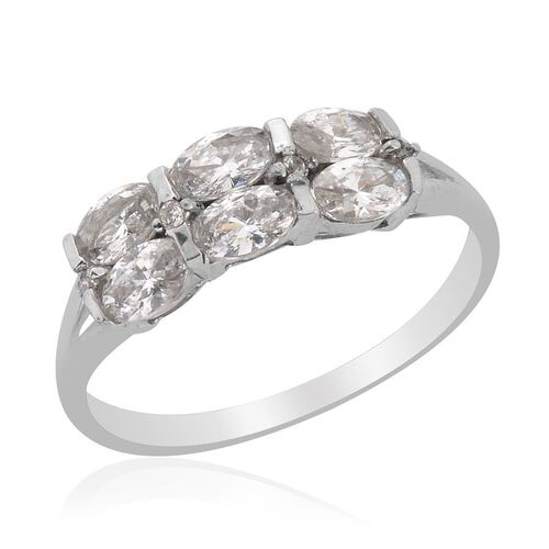 J Francis - Platinum Overlay Sterling Silver (Ovl) Ring Made with SWAROVSKI ZIRCONIA 1.296 Ct.