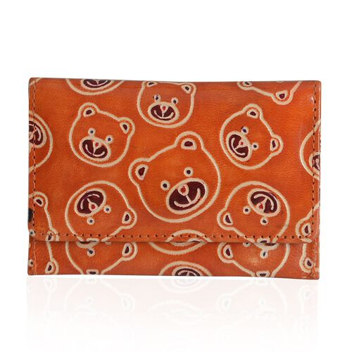 Genuine Leather Bear Embossed Orange and Multi Colour Card Holder with External Zipper Pocket, Pouch and Key Chain