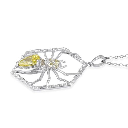 AAA Simulated Peridot Spider Pendant With Chain in Rhodium Plated Sterling Silver