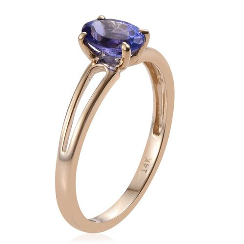 14K Y Gold AA Tanzanite (Ovl) Solitaire Ring 1.000 Ct.