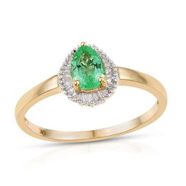 9K Y Gold Boyaca Colombian Emerald (Pear 0.60 Ct), Diamond Ring 0.750 Ct.
