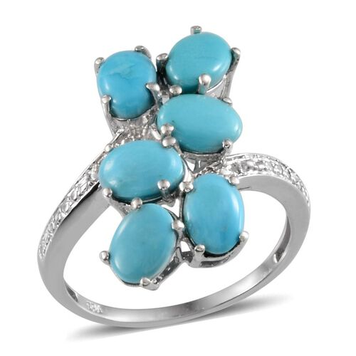 Arizona Sleeping Beauty Turquoise (Ovl), Diamond Ring in Platinum Overlay Sterling Silver 4.010 Ct.
